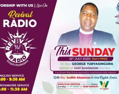Sunday service on  Revival Radio on 12th July 2020
